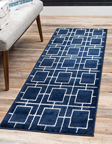 (Unique Loom Marilyn Monroe Glam Collection Textured Geometric Trellis Navy Blue Silver Runner Rug (2' 0 x 6' 0))