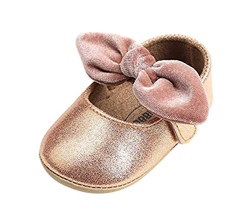 Bebila Baby Girls Shoes Mary Jane Hard Sole Sandals PU Leather Newborn Shoes Bow-Knot Toddler Moccasins (11cm(0-6months), Gold) -