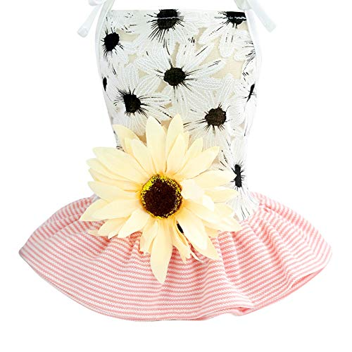 Adarl Summer Sunflower Blossom Pet Dress for Dog Cat Princess Tutu Dress Skirt Pet Costumes Apparel,Pink -