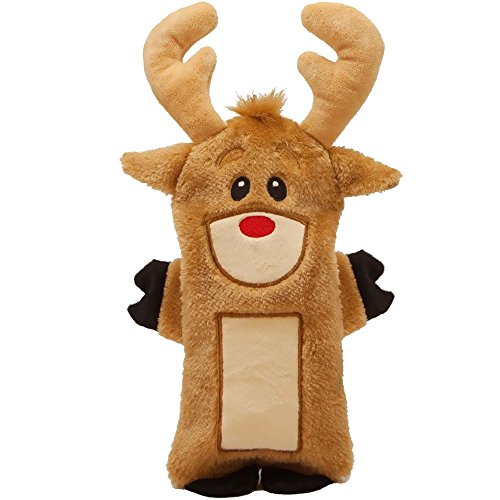 Outward Hound Kyjen  2789 Invincible Reindeer Mini Christmas Toy Dog Toy, Small, Brown (Plush Puppies Santa)
