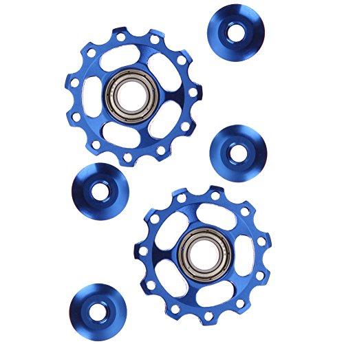 2pcs 11T Bike Aluminum Alloy Bearing Jockey Wheel Rear Derailleur(Blue) - 4