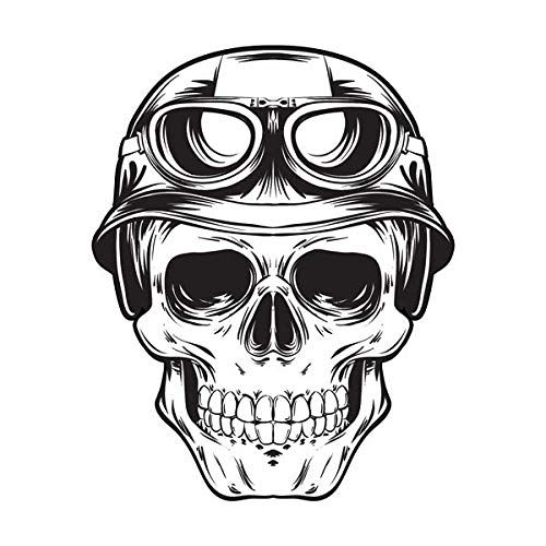 Stickers r/étro r/éfl/échissant pour Casque de Moto t/ête de Mort Motard Vintage
