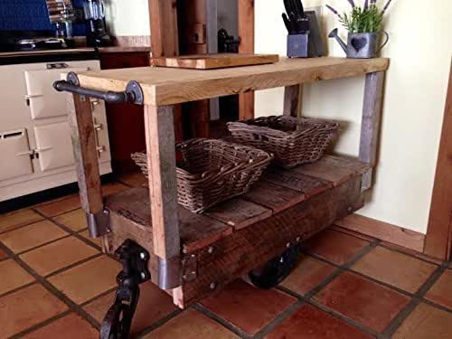 french country primitive industrial kitchen island cart handmade. Black Bedroom Furniture Sets. Home Design Ideas