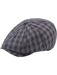 Black Plaid Newsboy Cap Flat IVY Gatsby Cap Mens Boys Duckbill Hat Drivers Caps