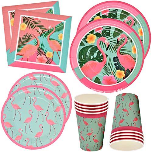 (Flamingo Party Supplies Dinnerware Set 24 9