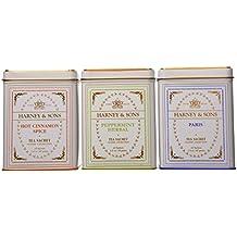 Harney & Sons Fine Tea Sachet Collection - Hot Cinnamon Spice 1.4 Ounce, Peppermint Herbal 1.2 Ounce, and Paris 1.4 Ounce - Classic Tin of 20 Sachets - 3-Pack