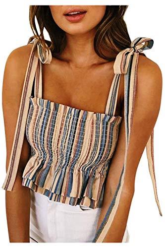 (KAKALOT Women's Ladies Frill Smocked Crop Tank Top Tie Shoulder Strap Sleeveless Summer Shirt Vest Apricot XL)