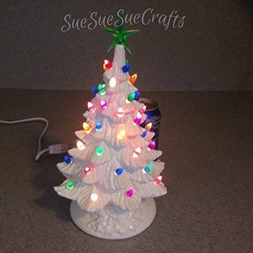 ceramic christmas tree 11 inches tall white christmas glaze multi colored twist and green - Amazon White Christmas Tree