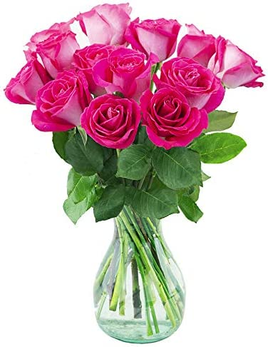 Delivery by Monday, May 10th Dozen Hot Pink Roses by Arabella Bouquets
