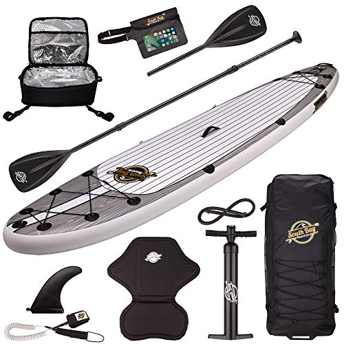 SBBC ||- Inflatable SUP -||- 10'6 Aqua Discover Paddle Board -||- Inflatable Stand Up Paddleboards Include The Standard ISUP Items + Kayak Seat/Cooler / 4 Piece Paddle/Wheeled Backpack -||