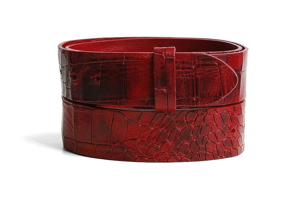 VaModa Belt, Cinturón en piel, modelo Folkestone, colore rojo, sin hebilla