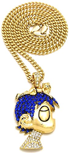 GWOOD L Uzi Small Cartoon Iced Out Pendant Necklace(GOLD COLOR WITH BLUE STONES WITH CUBAN CHAIN)