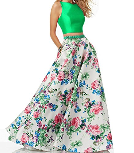 for Dresses Women Print Gowns Piece Party green XingMeng Prom Floral Beaded Evening lime 2 qaPntvx6