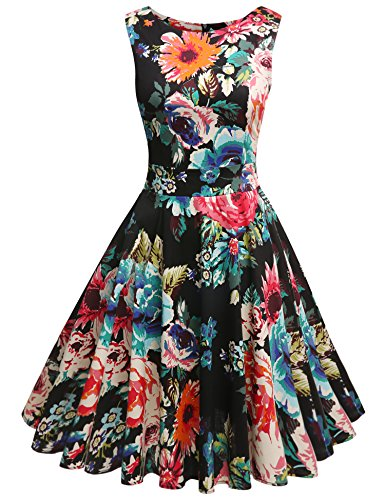ARANEE Vintage Classy Floral Print Sleeveless Party Picnic Party Cocktail (Garden Party Dress)
