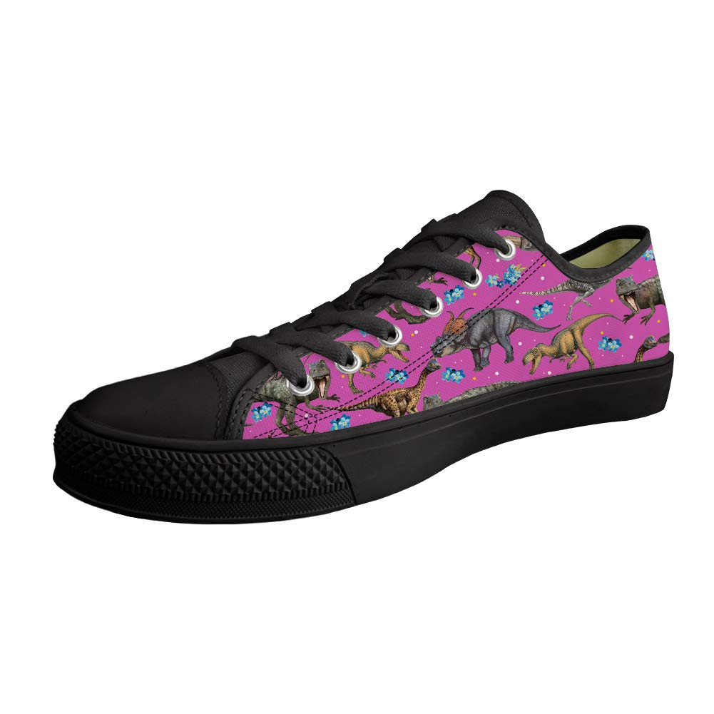Cool Dinosaur Printed Lace Up Sneaker Stylish Canvas Low-side Black Walking Shoes