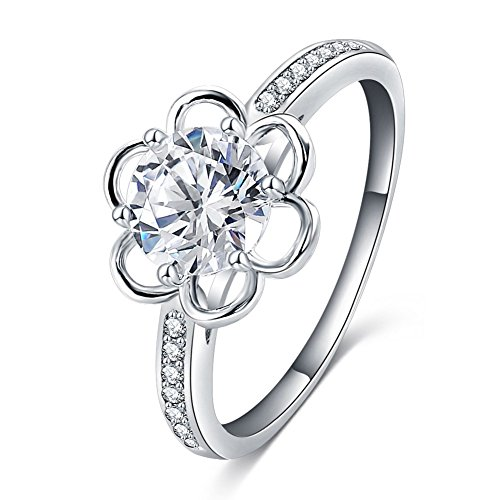 ABINA Exquisite Flower Shape Rings Silver Plated Cubic Zirconia Rings Rings Dressing Girls 9.0