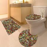 Printsonne Bathroom Non-Slip Floor Mat Doodles Style Art Bingo Excitement Checkers King Tambourine Vegas Machine-Washable