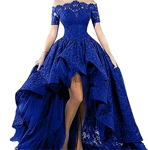 Diandiai Women's Hi-Lo Prom Dress Short Sleeve Lace Royal Blue Evening Dress Black Off The Shoulder Maxi Dress -