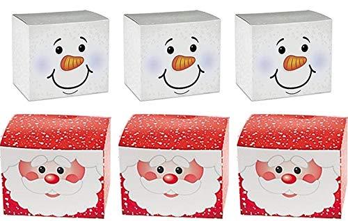 Fun Express~ 24 PC - Holiday Cardboard Gift Boxes - 12 Snowman, 12 Santa -