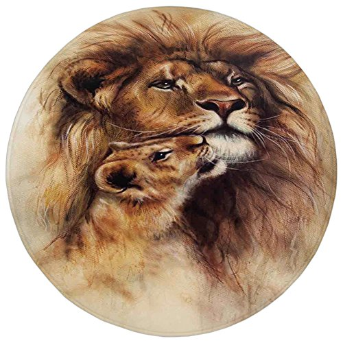 Round Rug Mat Carpet,Safari Decor,Painting of Loving Lion and her baby Cub Snuggle Wildlife Nature Expression Safary Theme Image,Flannel Microfiber Non-slip Soft Absorbent,for Kitchen Floor Bathroom