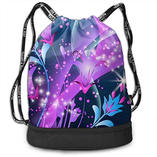 Portable Bundle Backpack, Colorful Sparkly Flowers Art Drawstring Bag For Girls & Boys, Gym Yoga Runner Sports Daypack]()