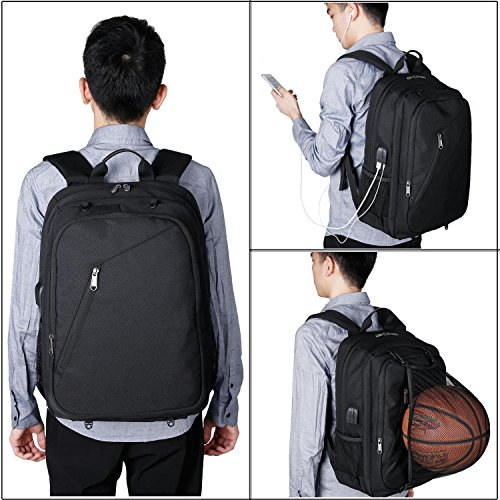 XQXA Extra Large School Backpack Mens Women USB Charging Port Headphone Port, Upgrade Slim Outdoor Sports Travel Bag Paded Laptop Compatment Fit 17 inch Laptops Notebook by XQXA (Image #6)