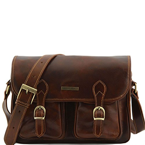 Leather Marino pockets Tuscany front San on Brown bag leather the Travel side with E6dqxd