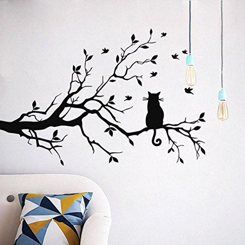 DKmagic Cat On Long Tree Branch Wall Sticker Animals Cats Art Decal Kids Room Decor