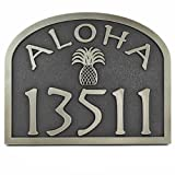 Aloha Address Plaque 16x12.6 - with Pineapple - Raised Silver Nickel Coated