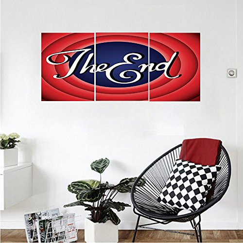 Liguo88 Custom canvas 1950s Decor Collection Movie Ending Screen Academy Dated Broadcast Entertainment Show Oscar Cinema Frame Image Bedroom Living Room Wall Hanging Red Navy White
