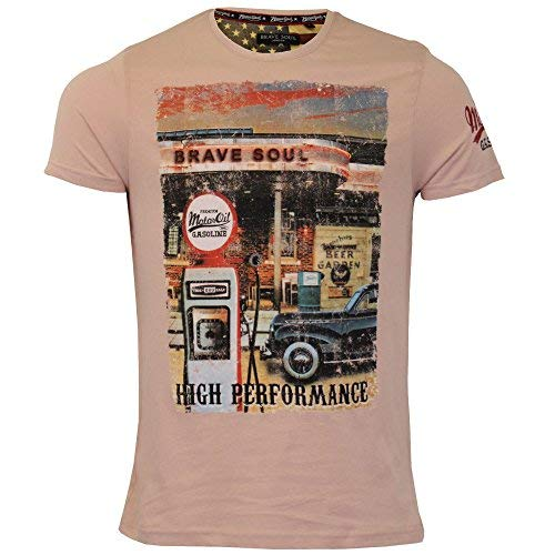 3526be86ed2009 Brave Soul Herren T-Shirt Marque Original Mini Cooper Aufdruck Kurze Ärmel  Sommer - Pink