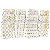 Holiday Gift Bags Medium Size- 12 Pack Premium Bulk Variety Set with Matching Note Tags- 4 Beautiful White and Gold Winter Designs For Christmas Presents, Wrapping Stocking Stuffers and Party Favors