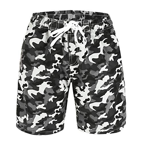 Kute 'n' Koo Boys Swim Trunks, UPF 50+ Quick Dry Boys Swim Shorts for Big Boys and Toddlers, Size from 2T to 18/20 (10/12, Camo (Grey))]()