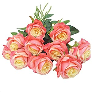 Rajahubri Artificial Flowers Artificial Silk Rose Flowers Fake Rose Flowers Bouquet Vintage Flowers Silk Leaf Rose Bouquet Flowers DIY Wreath Wedding Home Party Decoration Pack of 5/20.4ft 14