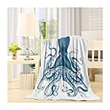 SIGOUYI Lightweight Fleece Blankets Reversible Throw Cozy Plush Microfiber All-Season Blanket for Bed/Couch - Throw 40x50 Inch, Octopus Theme Ocean Animals