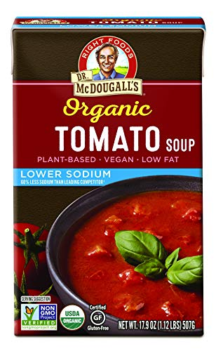 Dr. McDougall's Right Foods Organic Lower Sodium Tomato Soup, 17.7 Ounce (Pack of 6) Vegan, Gluten-Free, USDA Organic, Non-GMO, No Added Oil, Paper Cartons From Certified Sustainably-Managed Forests