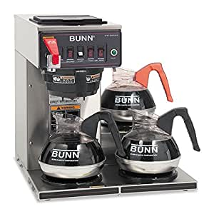BUNN Commercially Rated Automatic Brewer, 12-Cups, 3-Burners, Stainless Steel