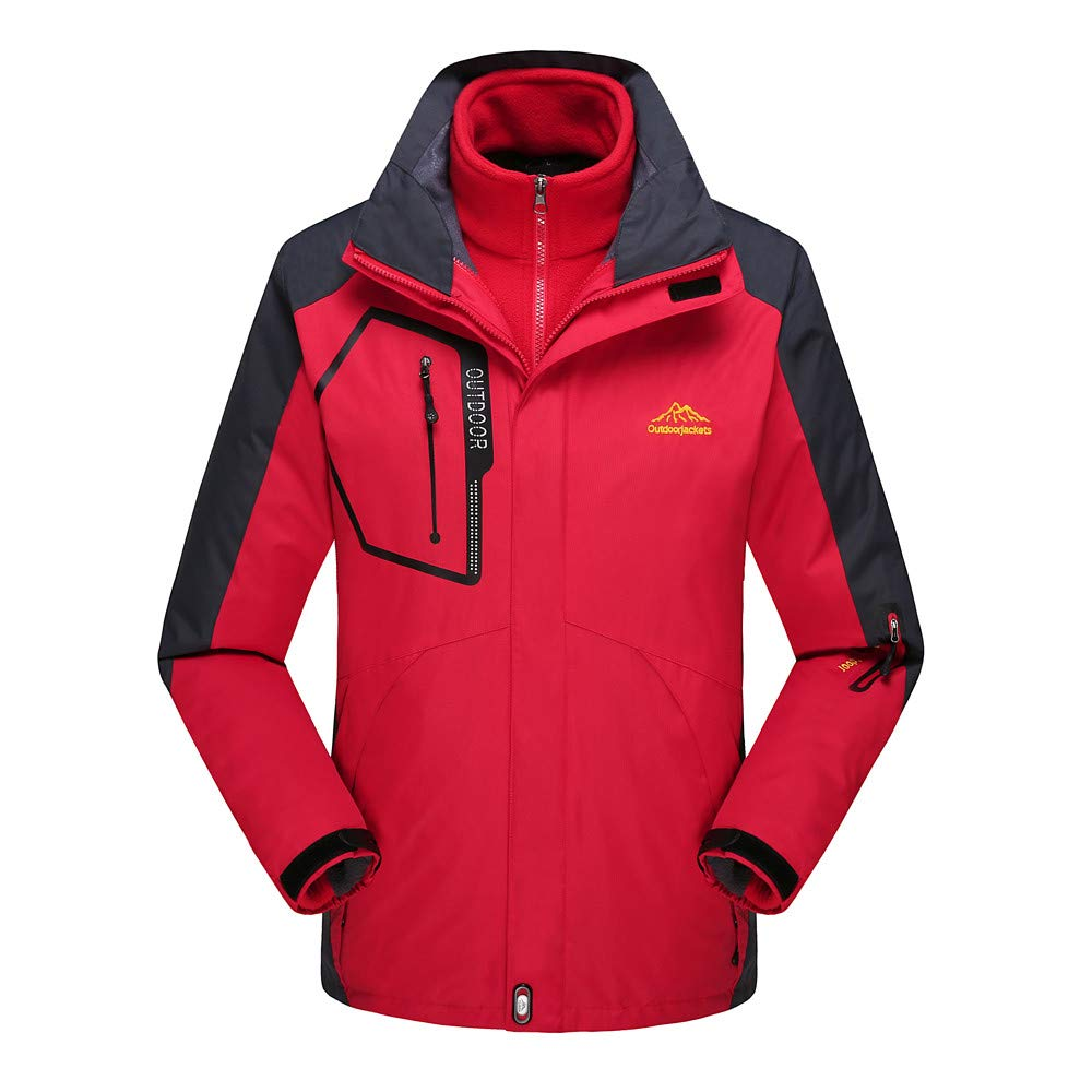 Men's Ski Jacket 3 in 1 Mountain Waterproof Winter Jacket Snow Jacket Windproof Hooded with Inner Warm Fleece Coat Red by Close-dole