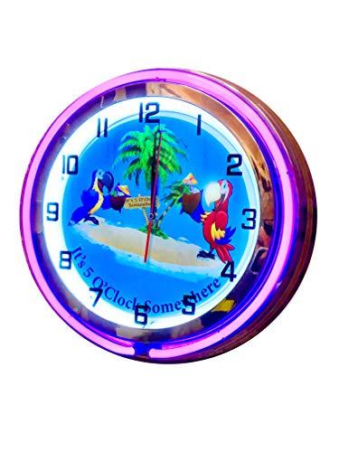 (Parrot Party It's 5 O'Clock Somewhere Double Neon Purple Clock.)