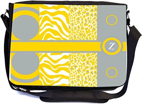 Rikki Knight Z Initiale Freesie gelb, Leopard Zebra Design, Messenger Schule Tasche (mbcp-cond43175)