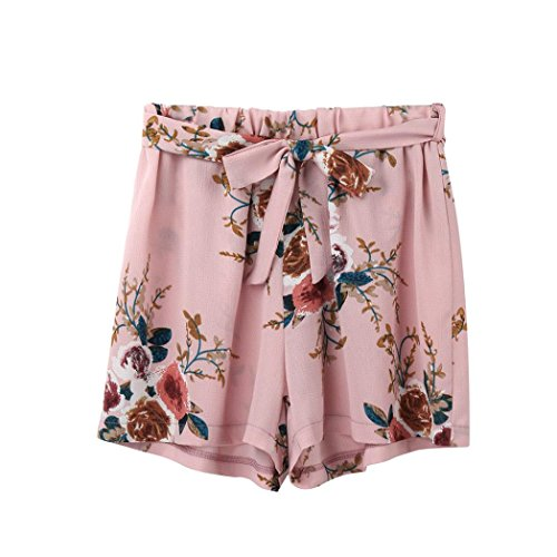 Clearanc!Women Print Casual Belt Loose Hot Pants Lady Summer Beach Shorts Trousers by-NEWONESUN
