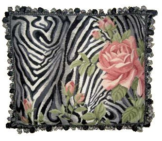 Zebra Needlepoint (Deluxe Pillows Pink Roses on Zebra - 19 x 23 in. needlepoint pillow)