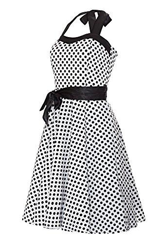 Laeticia Dreams - Vestido - cuello hálter - Lunares - Sin mangas - para mujer Weiß/Schwarz Punkte Klein