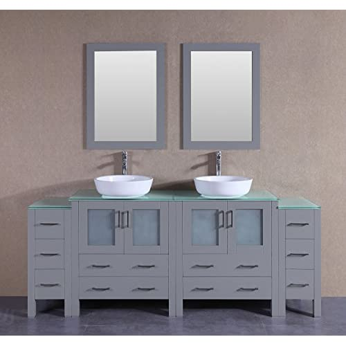"hot sale 2017 Bosconi Bathroom Vanities 84"" Classic Double Vanity Set With Oval Vessel Sinks, Countertops, 2 Cabinets, 2 Mirrors, And 2 Side Cabinets, Gray/Tempered White Glass"