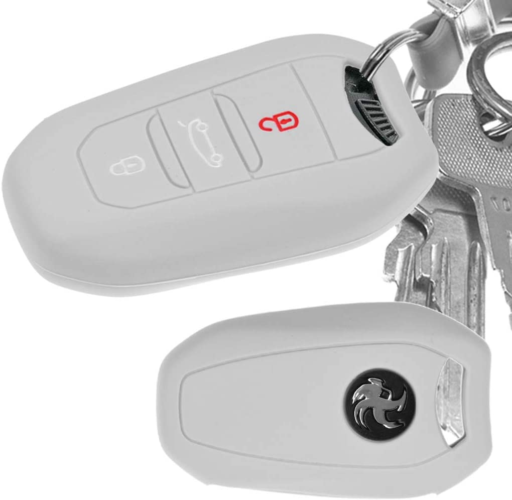 Auto Schlüssel Hülle Silikon Schutz Cover Grau Citroen Elektronik