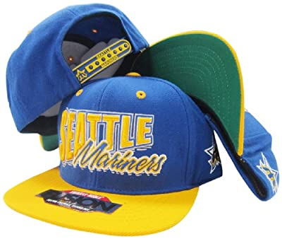 Seattle Mariners Blue/Yellow Fusion Angler Snapback Hat / Cap