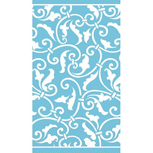 "Carribbean Blue Ornamental Scroll Guest Paper Towels | 16 Ct. | 8"" x 4"""