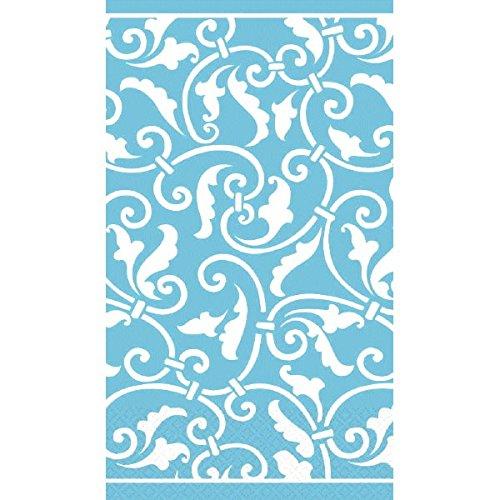 (Carribbean Blue Ornamental Scroll Guest Paper Towels | 16 Ct. | 8