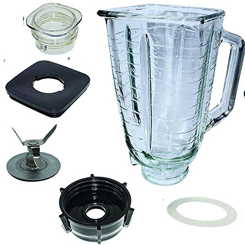 5 Cup Square Top Glass Jar Assembly With Blade, Gasket, Base, Lid. Fits Oster Blenders