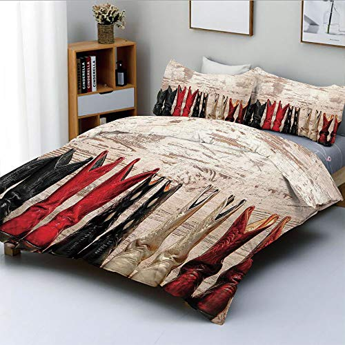 (Duplex Print Duvet Cover Set King Size,American Legend Cowgirl Leather Boots Rustic Wild West Theme Folkart PrintDecorative 3 Piece Bedding Set with 2 Pillow Sham,Beige Red Black,Best Gift for Kids &)